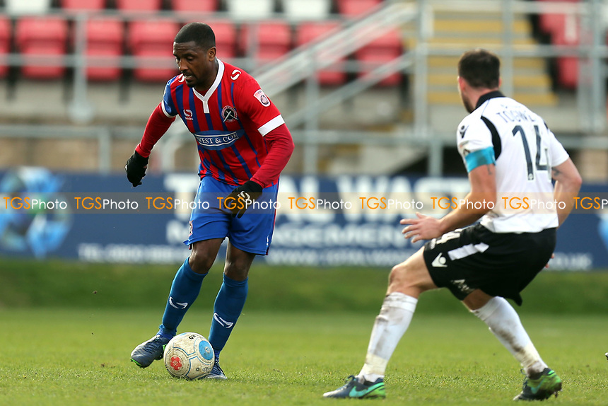 Andre Boucaud of Dagenham and Sam Togwell of Eastleigh during Dagenham & Redbridge vs Eastleigh, Vanarama National League Football at the Chigwell Construction Stadium on 1st April 2017