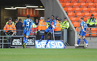 Gillingham's Brandon Hanlan celebrates scoring the opening goal<br /> <br /> Photographer Kevin Barnes/CameraSport<br /> <br /> The EFL Sky Bet League One - Blackpool v Gillingham - Saturday 4th May 2019 - Bloomfield Road - Blackpool<br /> <br /> World Copyright © 2019 CameraSport. All rights reserved. 43 Linden Ave. Countesthorpe. Leicester. England. LE8 5PG - Tel: +44 (0) 116 277 4147 - admin@camerasport.com - www.camerasport.com