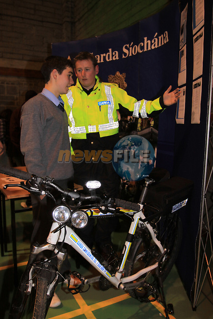 Student carears night in Our Ladys College Greenhills..Mark Hoey speaking to Garda Padraig Keegan...Picture Fran Caffrey/Newsfile.ie