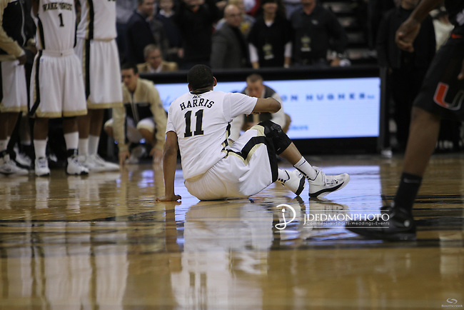 Wake Forest Demon Deacons guard C.J. Harris (11) reacts to a lost second miss to lose to the Canes. Miami wins a close one in the final seconds 74-73.