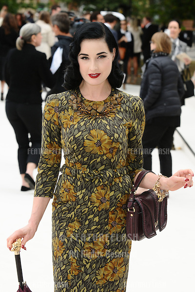 Ditta Von Teese arriving for the Burberry Prorsum catwalk show as part of London Fashion Week SS13, Kensington Gardens, London. 17/09/2012 Picture by: Steve Vas / Featureflash