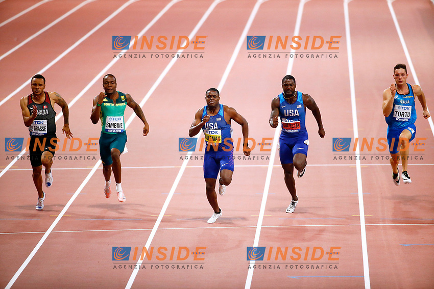 DOHA, QATAR - SEPTEMBER 28 : Christian Coleman (Usa) pictured during the 100m Men Final of the 17th IAAF World Athletics championships from september 27 till october 6, 2019 in Doha ,Qatar , 28/09/2019.<br /> <br /> Doha 28/09/2019 <br /> Mondiali Atletica Leggera <br /> Photo Jimmy Bolcina / Photonews / Panoramic  / Insidefoto <br /> ITALY ONLY