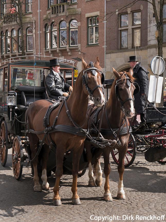 Pferdekutsche am Dam, Amsterdam, Provinz Nordholland, Niederlande<br /> carriagenear Dam, Amsterdam, Province North Holland, Netherlands