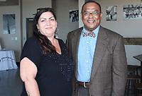 NWA Democrat-Gazette/CARIN SCHOPPMEYER Angela Harper and Marcus Carruthers attend the Dress for Success reception on June 18.