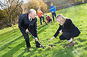 Graeme Little and Kerry McCall from Keyline join pupils from Braes High School in planting trees at Little Kerse..