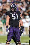 TCU Horned Frogs guard Austin Schlottmann (51) in action during the game between the Baylor Bears and the TCU Horned Frogs at the Amon G. Carter Stadium in Fort Worth, Texas.