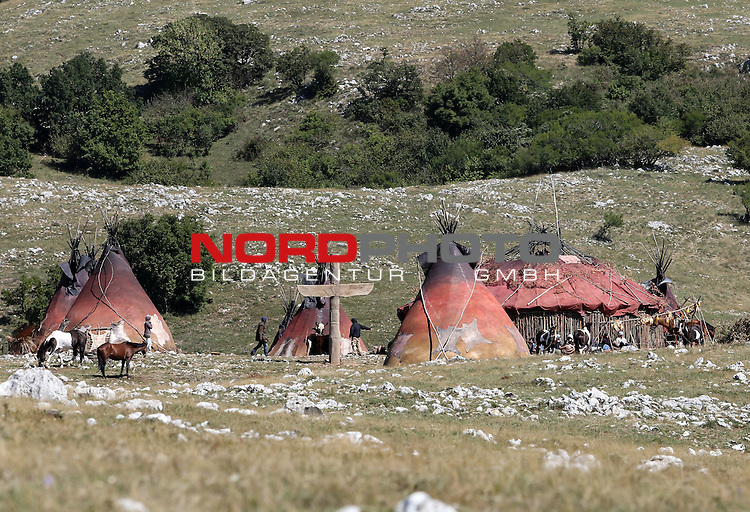 09.09.2015., Novi Vinodolski, Croatia - Indian village backdrop for the filming of Winnetou in the village Breze.<br /> <br /> Foto &copy;  nph / PIXSELL / Goran Kovacic