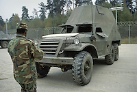 - NATO in Germany; U.S.Army, Foreign Materials Training Detachment (FMTD) at Grafenwoehr training area, Soviet BTR-152 infantry armoured transport vehicle  (October 1985)<br />