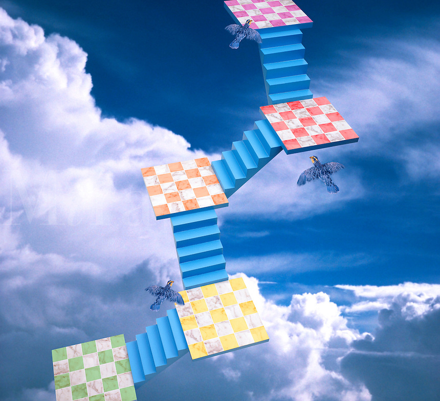 Digital illustration: Stairs and Platforms in the Sky.