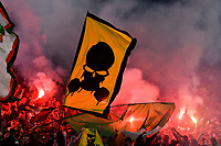 7th November 2019, Rome, Italy; UEFA Europa League football , group stages, Lazio versus Glasgow Celtic;  Celtic fans light flares and cheer on their team - Editorial Use