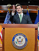 United States House Speaker Paul Ryan (Republican of Wisconsin) conducts his weekly press conference in the US Capitol in Washington, DC on Thursday, April 21, 2016.<br /> Credit: Ron Sachs / CNP