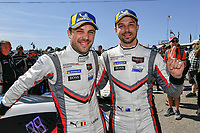 #912 Porsche GT Team Porsche 911 RSR, GTLM: Earl Bamber, Laurens Vanthoor celebrate the win in victory lane