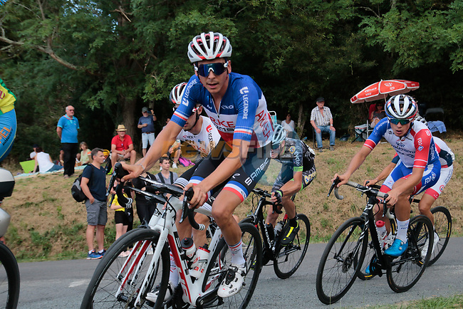 French Champion Warren Barguil (FRA) Arkea-Samsic during the Criterium Castillon La Bataille 2019 the first criterium after the Tour de France held around Ville de Castillon-la-Bataille, France. 6th August 2019.<br /> Picture: Colin Flockton | Cyclefile<br /> All photos usage must carry mandatory copyright credit (© Cyclefile | Colin Flockton)