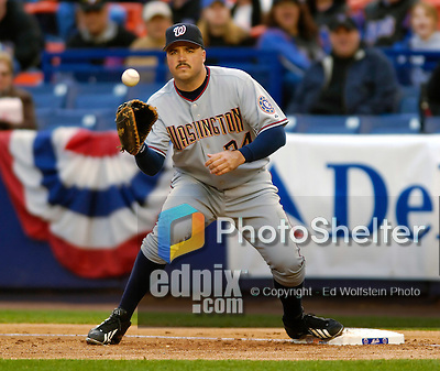 3 April 2006: Nick Johnson, first baseman for the Washington Nationals makes a play during Opening Day against the New York Mets at Shea Stadium, in Flushing, New York. The Mets defeated the Nationals 3-2 to lead off the 2006 MLB season...Mandatory Photo Credit: Ed Wolfstein Photo..