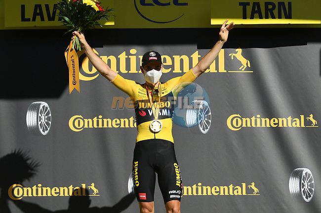 Wout Van Aert (BEL) Team Jumbo-Visma wins Stage 7 of Tour de France 2020, running 168km from Millau to Lavaur, France. 4th September 2020.<br /> Picture: ASO/Alex Broadway | Cyclefile<br /> All photos usage must carry mandatory copyright credit (© Cyclefile | ASO/Alex Broadway)