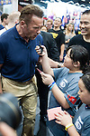 Arnold Schwarzenegger poses for photos while giving an interview for students  during the Arnold Classic Asia 2016 Multi-Sport Festival on 20 August 2016 at the AsiaWorld-Expo, Hong Kong. Photo by Marcio Machado / Power Sport Images