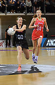 7th September 2017, Te Rauparaha Arena, Wellington, New Zealand; Taini Jamison Netball Trophy; New Zealand versus England;  Silver Ferns captain Katrina Grant (L) takes a pass with Englands Helen Housby giving chase