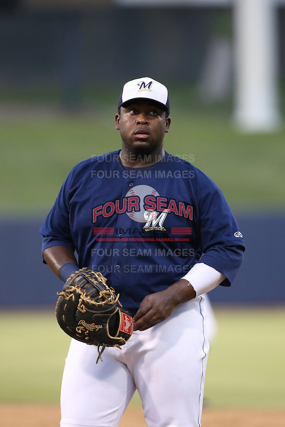 Tyrone Perry (64) of the AZL Brewers in the field during a game against the AZL Athletics at Maryvale Baseball Park on June 30, 2015 in Phoenix, Arizona. Brewers defeated Athletics, 4-2. (Larry Goren/Four Seam Images)