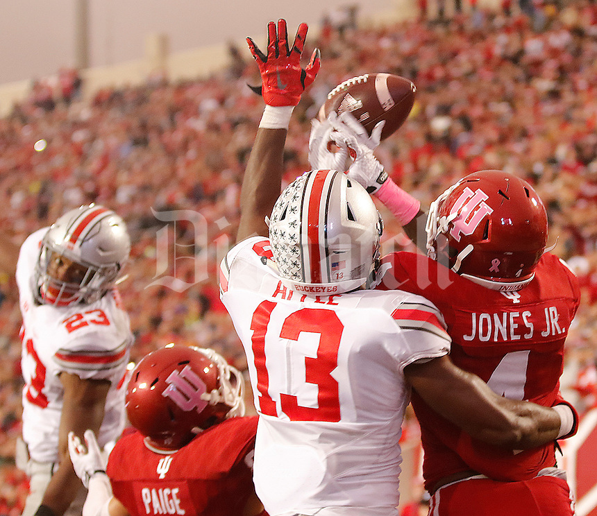 Ohio State Buckeyes cornerback Eli Apple (13) knocks the ball away from Indiana Hoosiers wide receiver Ricky Jones (4) on the last play of the game at Memorial Stadium on October 3, 2015. (Chris Russell/Dispatch Photo)