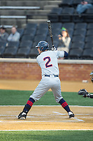 Max McDowell (2) of the UConn Huskies at bat against the Wake Forest Demon Deacons at Wake Forest Baseball Park on March 17, 2015 in Winston-Salem, North Carolina.  The Demon Deacons defeated the Huskies 6-2.  (Brian Westerholt/Four Seam Images)