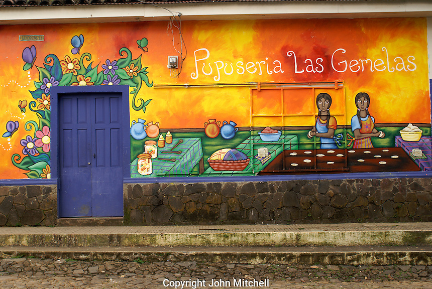 Mural on the outside wall of a pupuseria in the village of Ataco in western El Salvador