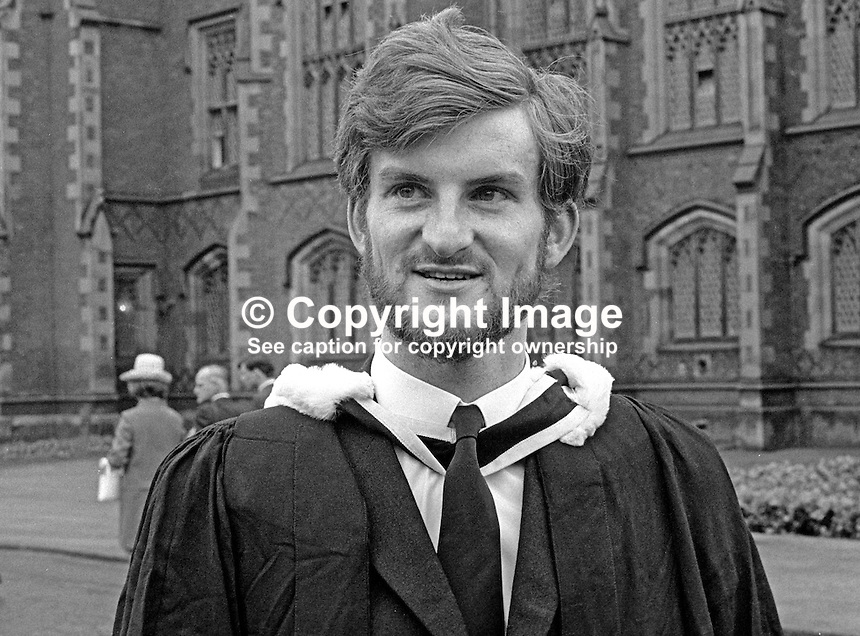 George Pollock, Omagh, Co Tyrone, N Ireland, UK, graduate, QUB, Queen's University, Belfast, 6th July 1970, 197007060247GP2<br /> <br /> Copyright Image from Victor Patterson, 54 Dorchester Park, Belfast, UK, BT9 6RJ<br /> <br /> t: +44 28 90661296<br /> m: +44 7802 353836<br /> vm: +44 20 88167153<br /> e1: victorpatterson@me.com<br /> e2: victorpatterson@gmail.com<br /> <br /> For my Terms and Conditions of Use go to www.victorpatterson.com