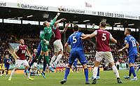 Everton's Jordan Pickford punches clear under pressure from Burnley's Ashley Barnes<br /> <br /> Photographer Rich Linley/CameraSport<br /> <br /> The Premier League - Burnley v Everton - Saturday 5th October 2019 - Turf Moor - Burnley<br /> <br /> World Copyright © 2019 CameraSport. All rights reserved. 43 Linden Ave. Countesthorpe. Leicester. England. LE8 5PG - Tel: +44 (0) 116 277 4147 - admin@camerasport.com - www.camerasport.com