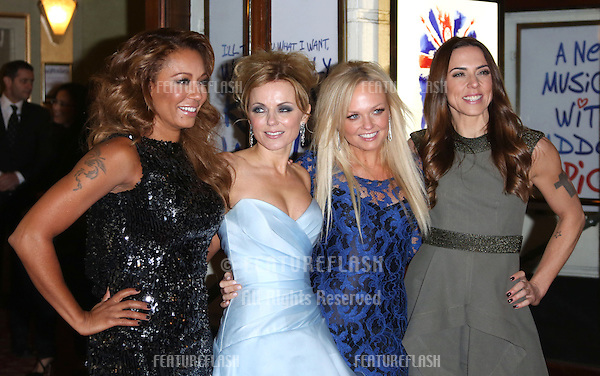 Melanie Brown aka Mel B, Geri Halliwell, Melanie Chisholm aka Mel C, Emma Bunton arriving for VIVA Forever Spice Girls the Musical held at the Piccadilly Theatre. 11/12/2012 Picture by: Henry Harris / Featureflash