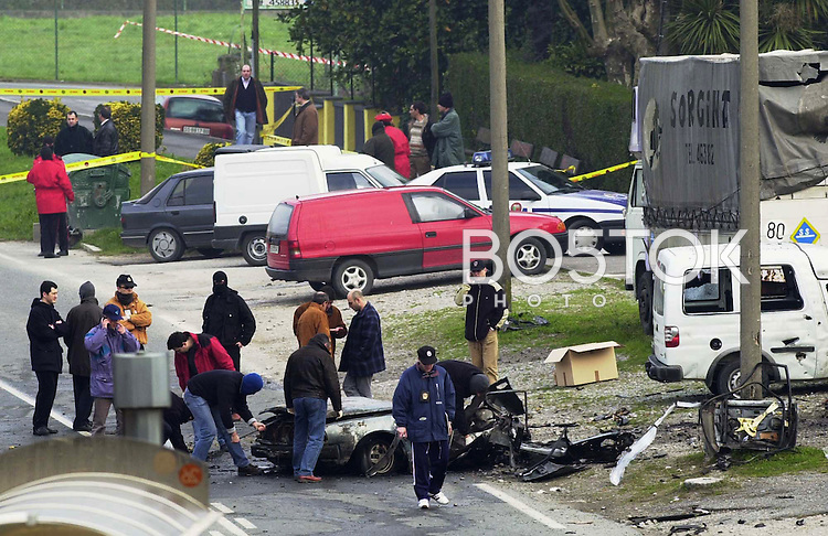 A car bomb exploded killing two people on February, 22nd 2001 in Donostia-San Sebastián, Basque Country. Goverment blamed armed Basque independentist group ETA. (Ander Gillenea / Bostok Photo)