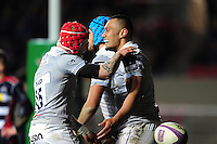Robbie Fruean of Bath Rugby is congratulated on his try by team-mates. European Rugby Challenge Cup match, between Bristol Rugby and Bath Rugby on January 13, 2017 at Ashton Gate Stadium in Bristol, England. Photo by: Patrick Khachfe / Onside Images