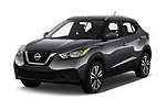 2019 Nissan Kicks SV 5 Door SUV angular front stock photos of front three quarter view