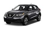 2019 Nissan Kicks SV 5 Door SUV angular front stock photos of front three quarter view