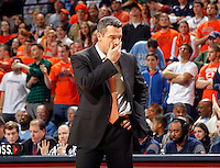Virginia head coach Tony Bennett reacts to a call during the game against North Carolina at the John Paul Jones arena in Charlottesville, Va. Virginia defeated North Carolina 61-52.