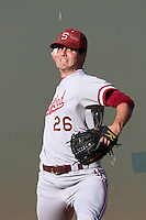 Mark Appel #26 of the Stanford Cardinal warms up before pitching against the UCLA Bruins at Jackie Robinson Stadium on April 27, 2012 in Los Angeles,California. Stanford defeated UCLA 7-2.(Larry Goren/Four Seam Images)