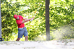 DURHAM, NC - SEPTEMBER 17: Liberty's Hutson Chandler on the tenth fairway. The third round of the Rod Myers Invitational Men's Golf Tournament was held on September 17, 2017, at the Duke University Golf Club in Durham, NC.