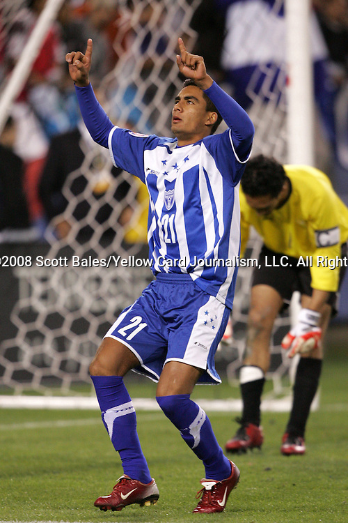 20 March 2008: Oscar Morales (HON) (21) reacts after converting his penalty kick in the shootout. The Honduras U-23 Men's National Team defeated the Guatemala U-23 Men's National Team 6-5 on penalty kicks after a 0-0 overtime tie at LP Field in Nashville,TN in a semifinal game during the 2008 CONCACAF Men's Olympic Qualifying Tournament. With the penalty kick victory, Honduras qualifies for the 2008 Beijing Olympics.