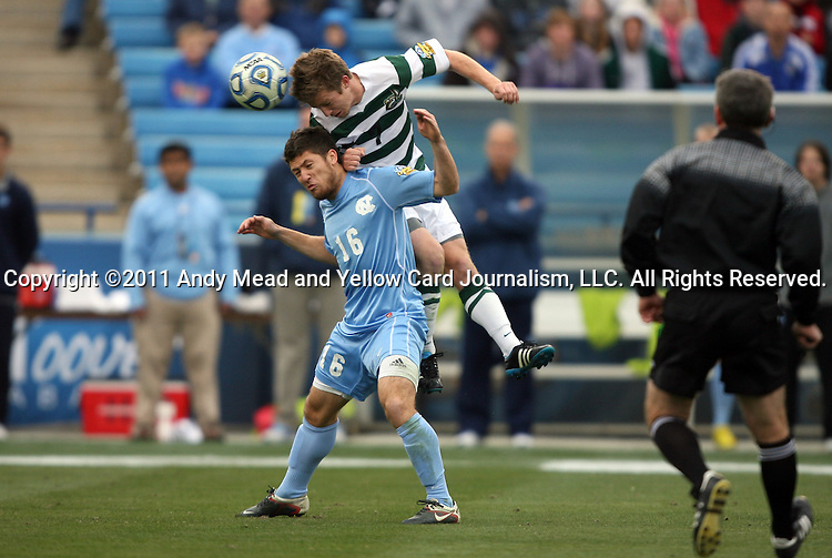 11 December 2011: UNCC's Owen Darby (7) fouls North Carolina's Enzo Martinez (16). The University of North Carolina Tar Heels defeated the University of North Carolina Charlotte 49ers 1-0 at Regions Park in Hoover, Alabama in the NCAA Division I Men's Soccer College Cup Final.