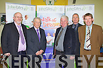 WALK OF DREAMS: John Giles one of Ireland's greatest soccer players launching the Kerry Walk of Dreams in aid of the John Giles Foundation at the KDL headquarters, Mounthawk park on Monday l-r: Murt Murphy (PRO), John Giles, John Regan (secretary), Tom O'Shea (regional manager FAI Munster) and Sean O'Keeffe (chairman).