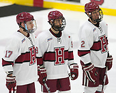 Sean Malone (Harvard - 17), Luke Esposito (Harvard - 9), Tyler Moy (Harvard - 2) - The Harvard University Crimson defeated the St. Lawrence University Saints 6-3 (EN) to clinch the ECAC playoffs first seed and a share in the regular season championship on senior night, Saturday, February 25, 2017, at Bright-Landry Hockey Center in Boston, Massachusetts.
