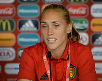 20170719 - BREDA , NETHERLANDS :  Belgian Janice Cayman pictured during a press conference of the Belgian national women's soccer team Red Flames, on Wednesday 19 July 2017 at stadion Rat Verlegh in Breda on matchday -1 . The Red Flames are at the Women's European Championship 2017 in the Netherlands. PHOTO SPORTPIX.BE | DAVID CATRY