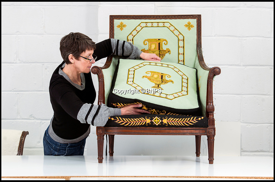 BNPS.co.uk (01202 558833)<br /> Pic: PhilYeomans/BNPS<br /> <br /> Conservator Emma Telford with the restored chair.<br /> <br /> Seat of Power - The First Duke of Marlborough's campaign chairs, upon which he sat to plot the downfall of the French King Louis XIV, are returning to Blenheim Palace following an 18-month restoration.<br /><br />The chairs would have been carted across Europe as part of the Duke's baggage train to allow him a comfortable seat in which to plan his stunningly successful campaign against the mighty French monarch.<br /><br />Textile conservator Emma Telford, who is based in Herefordshire, had to turn detective to re-discover the ornate 18th century chairs' original decoration and recruit a team of embroiders to help bring them back to life.<br /><br />In total Emma and her volunteer helpers used a staggering 10,000 metres of French silk to re-embroider the chairs with the original designs.