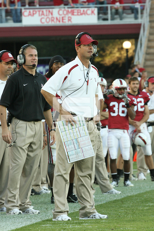 13 October 2007: Head coach Jim Harbaugh during Stanford's 38-36 loss to TCU at Stanford Stadium in Stanford, CA.