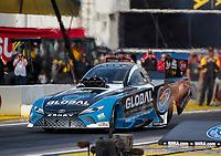 Nov 15, 2019; Pomona, CA, USA; NHRA funny car driver Shawn Langdon during qualifying for the Auto Club Finals at Auto Club Raceway at Pomona. Mandatory Credit: Mark J. Rebilas-USA TODAY Sports