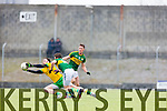 Jonathan Lyne and Stephen O'Brien Kerry in action against Martin McElhinney Donegal in Division One of the National Football League at Austin Stack Park Tralee on Sunday.