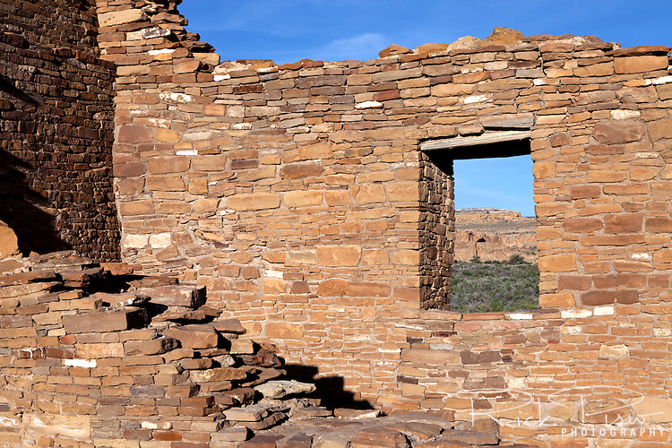 Pueblo Del Arroyo Rock Wall and Window at Chaco Culture National Historic Park.