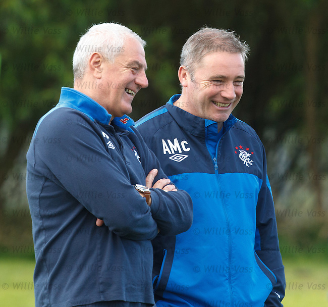 Rangers manager Walter Smith has a laugh with assistant Ally McCoist ahead of the start of the new SPL campaign