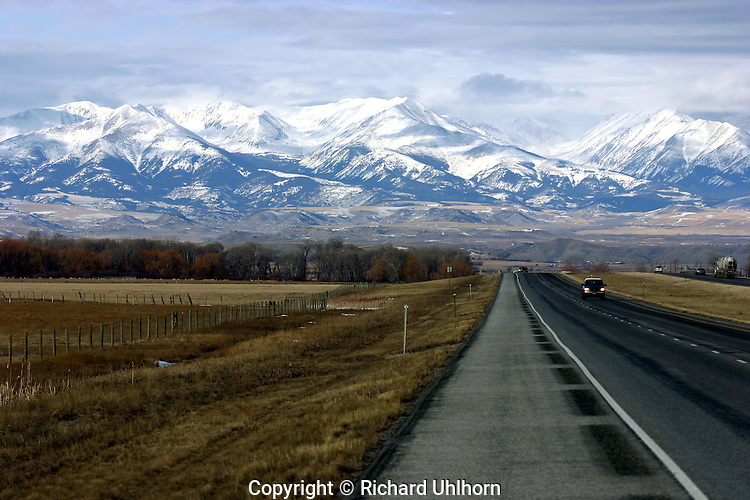 This view of the eastern slopes of the Crazy Mountains in Montana was taken along side Interstate 90.