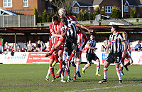 Tom Bolarinwa of Grimsby Town heads an Accrington Stanley corner out to safety <br /> during the Sky Bet League 2 match between Accrington Stanley and Grimsby Town at the Fraser Eagle Stadium, Accrington, England on 25 March 2017. Photo by Tony  KIPAX / PRiME Media Images.