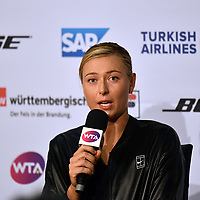 PORSCHE TENNIS GRAND PRIX<br /> WTA Stuttgart<br /> Wednesday,26 April 2017<br /> Maria Sharapova (RUS),in her first match after her 15 month suspension,defeated Roberta Vinci (ITA) 75 63<br /> <br /> Photo Ray Giubilo