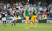 Preston North End's Jayden Stockley and Andrew Hughes in discussion at the final whistle<br /> <br /> Photographer Rob Newell/CameraSport<br /> <br /> The EFL Sky Bet Championship - Millwall v Preston North End - Saturday 3rd August 2019 - The Den - London<br /> <br /> World Copyright © 2019 CameraSport. All rights reserved. 43 Linden Ave. Countesthorpe. Leicester. England. LE8 5PG - Tel: +44 (0) 116 277 4147 - admin@camerasport.com - www.camerasport.com